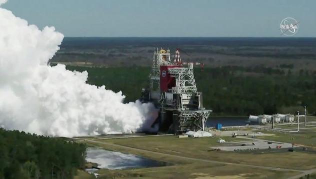<b>美国宇航局第二次试射月球火箭完成发动机试射</b>